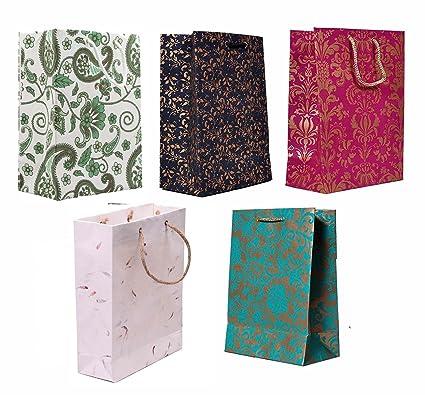 Di Kraft Handmade Party Favour Gift Paper Carry Bag Multicolor Set