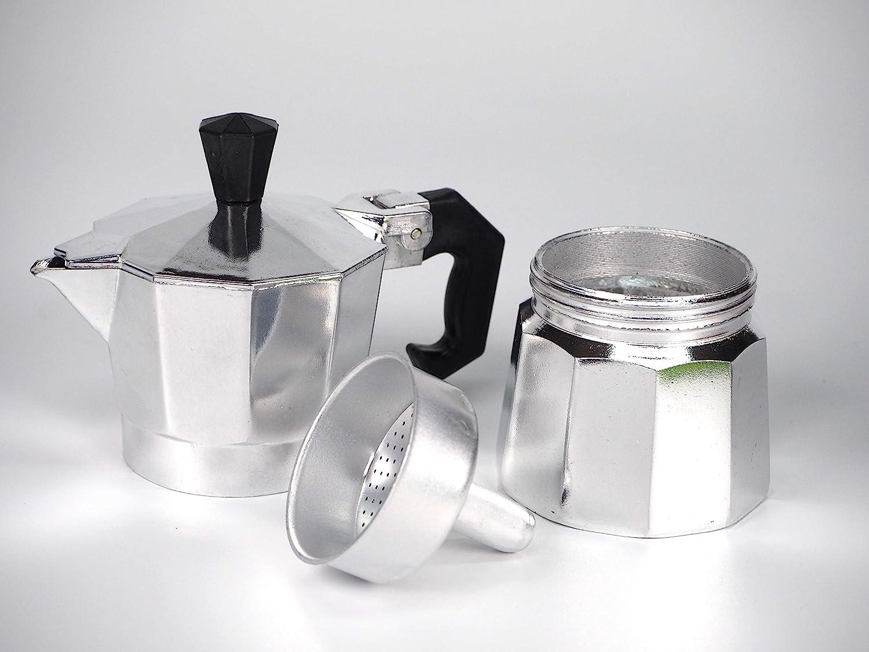 Sanfor Asa para Cafetera italiana 9-12 Tazas Aluminio | Mango cafetera Baquelita | Negro | 10 x 5 x 1 cm: Amazon.es: Hogar