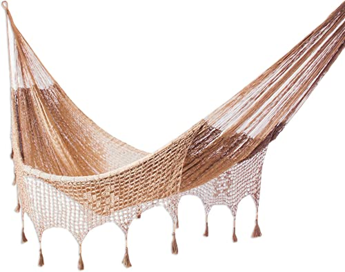 NOVICA Nylon Brown Rope Hammock 'Copper Filigree' Triple