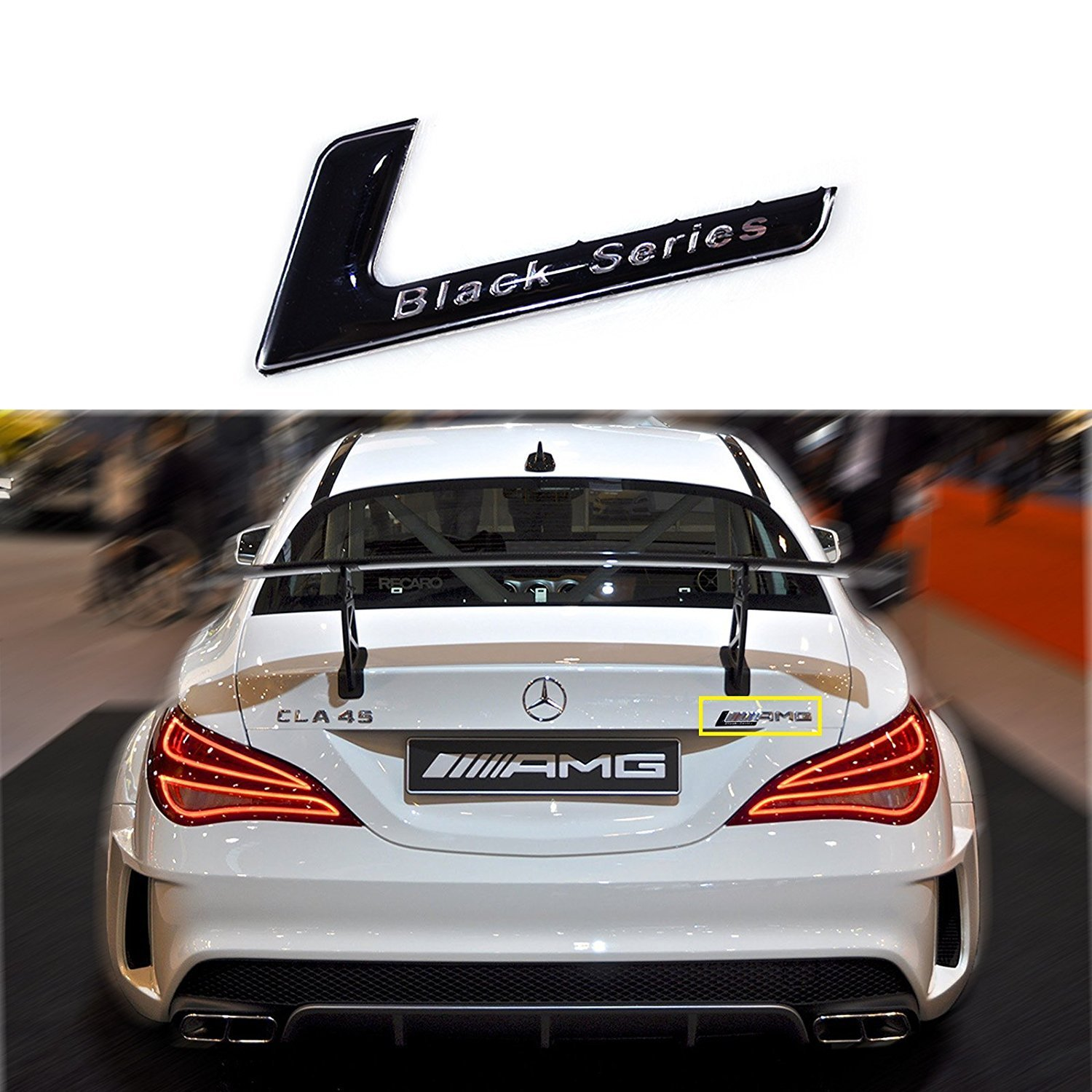 1x Black Series Badge Car Rear Trunk Body Emblem Black Sticker For Mercedes Benz AMG SLK55 CLK63 SL65 C63 SLS Classic Xotic Tech Direct