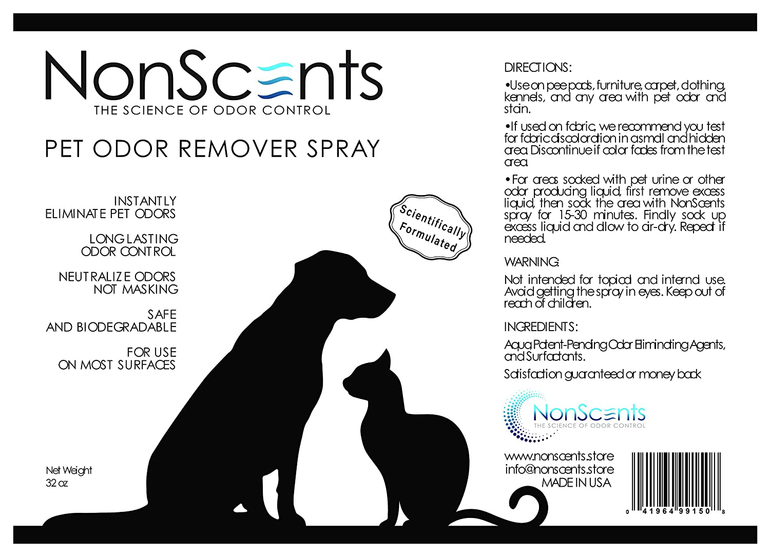 Amazon.com : Odor Eliminator And Neutralizer, Odor U0026 Stain Remover Spray   Get  Rid Of Bad Cat, Dog, Pet Urine Smells   Use Cleaner On Pee Pads, Carpet, ...