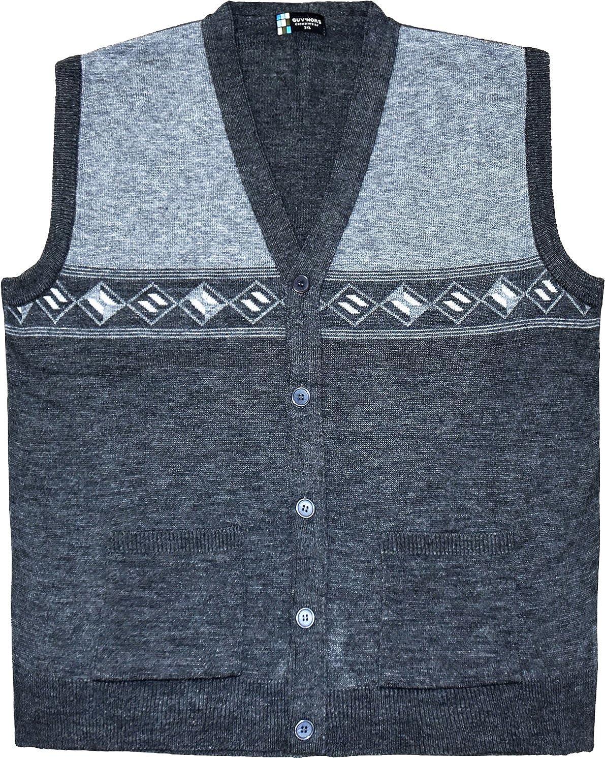 Guvnors Mens Big Sized Knitted Waistcoat Sleeveless Cardigan 3XL 4XL 5XL 6XL