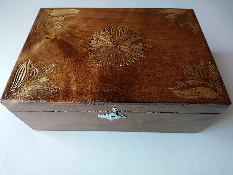 Nueva chocolate marron caja de almacenamiento de joya de madera ...