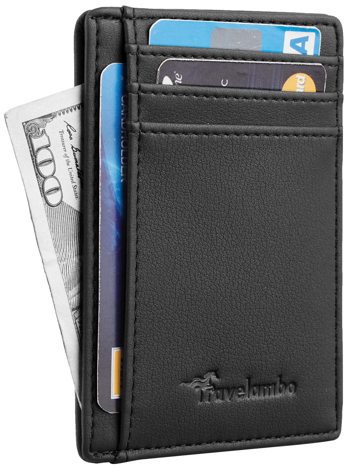 Travelambo Front Pocket Wallet Minimalist Wallets Leather Slim Wallet Money Clip RFID Blocking(Vintage Black) tra140