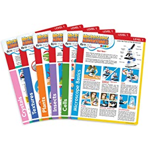 IQCrew by AmScope Microscope Experiment & Activity Cards for Kids & Students -