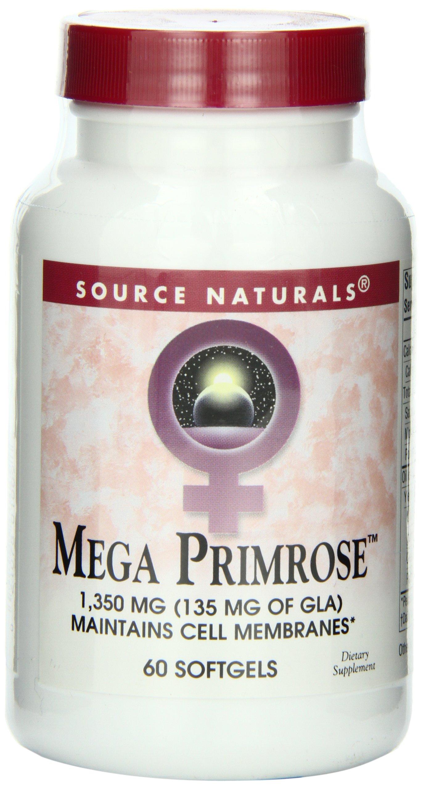 Source Naturals Mega Primrose 1350mg, Maintains Cell Membranes, 60 Softgels