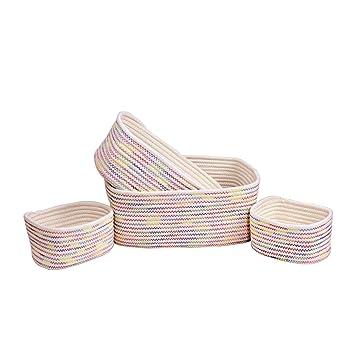 Orino Cotton Rope Storage Baskets Nursery Bins Set of 4  sc 1 st  Amazon.com & Amazon.com : Orino Cotton Rope Storage Baskets Nursery Bins Set of ...