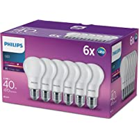 Philips LED A60 E27 Edison Screw Bulbs, Frosted, 5.5 W (40 W) - Warm White, Pack of 6