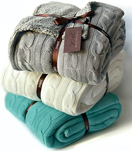 Amazon.com: Cable Knit Sherpa Oversized Throw Reversible Blanket ...