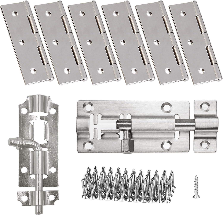 Bisagras plegables de acero inoxidable 304, 6 piezas, 7,6 cm y 7,6 cm, 2 piezas de perno para puerta corrediza para muebles del hogar, bisagra para puerta con 60 tornillos para armario