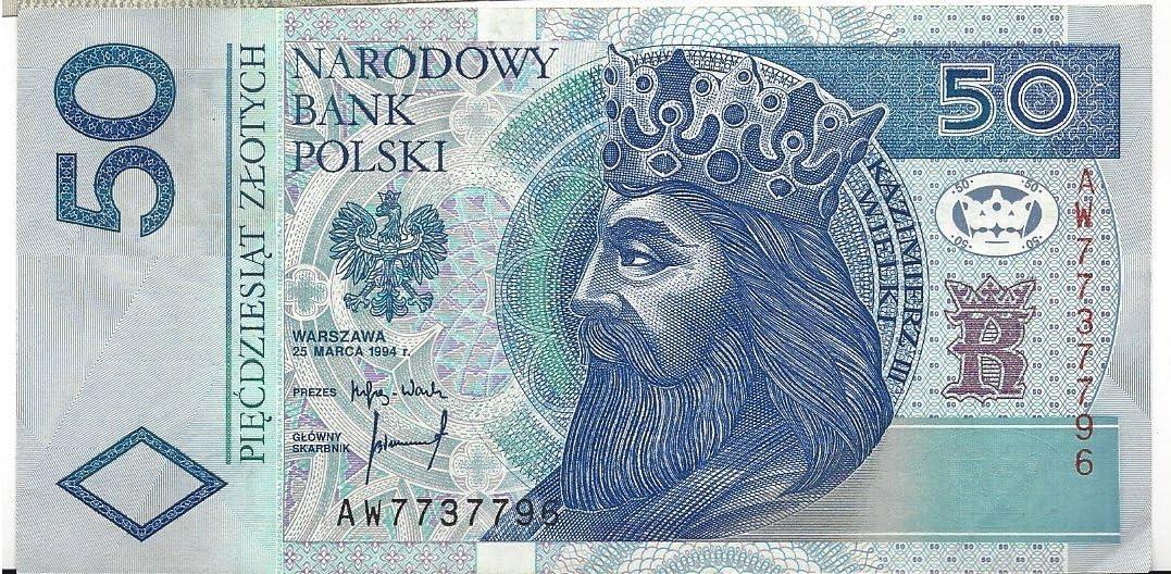 Amazon.com : Zlotych piecdzieslat, 50, Narodowy Bank Polski, Warszawa 25  Marca 1994, A W 7737796, / Narodowy Bank Polski, N B P Banknoty Emitowane  Przez : Everything Else