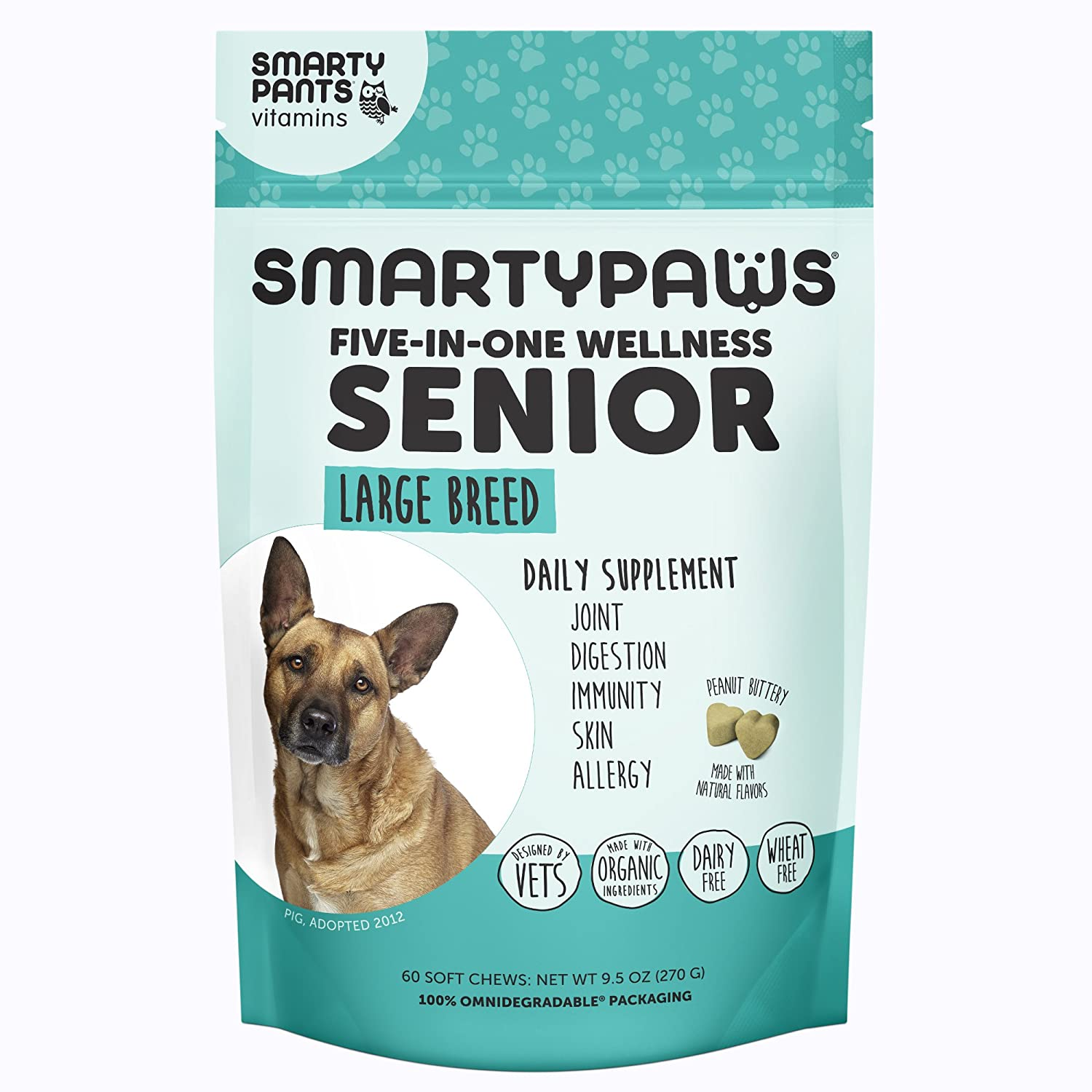 SmartyPants Vitamins Dog Supplement Chew – Glucosamine and Chondroitin, MSM for Joint Support, Fish Oil Omega 3, Probiotics, Organic Turmeric 60 Ct Senior 7 Years , Large 55 lbs.