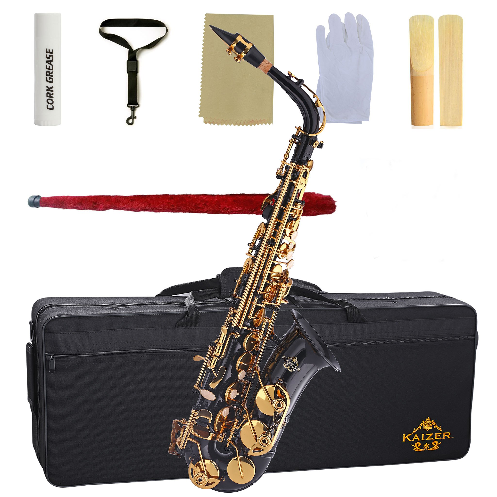 Kaizer Alto Saxophone E Flat Eb Black Lacquer Body Gold Keys 1000 Series Sax Includes Case Mouthpiece and Accessories ASAX-1000BKGK by Kaizer (Image #5)