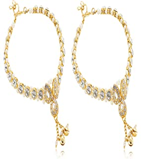 ff9411845b139d Womensky Antique Traditional Kundan Pearls Stone Fancy Gold Plated Payal/ Anklet/Pajeb/Payjeb