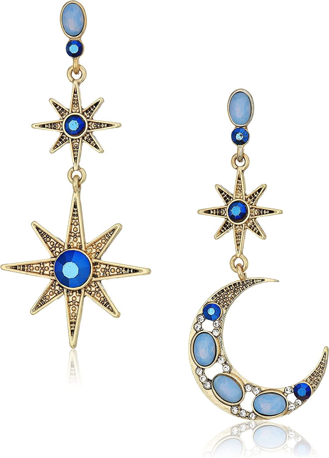 Betsey Johnson Women's Moon and Star Drop Earrings
