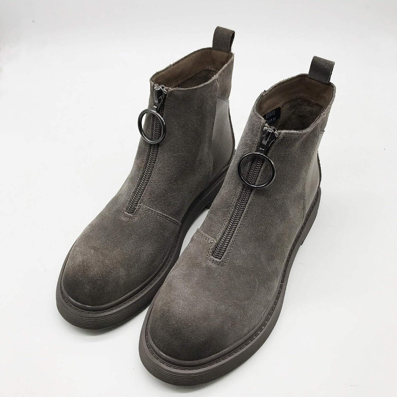 Shukun erhöht Stiefeletten Stiefel Martin Stiefel Frauen Wilden flachen Boden erhöht Shukun PU Retro 272ae0