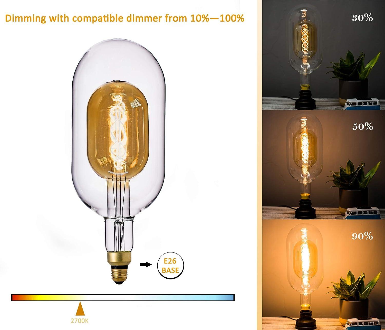 FLSNT Decorative Large LED Edison Bulbs for Foyer,Dinning Room,Living Room,6W,2700K Soft Warm Lighting,Dimmable,E26 Medium Base,CRI90,500LM,Frosted Glass Finishing