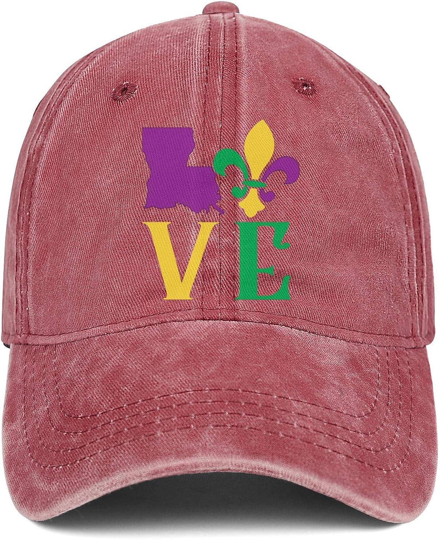 Love Louisiana Mardi Gras Denim Trucker Hat Men//Women Classic Cowboy Baseball Cap
