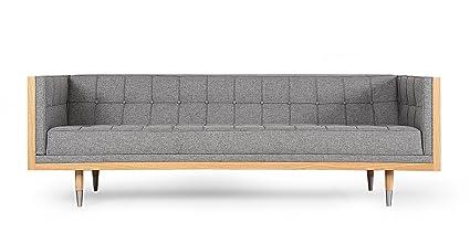 Kardiel Woodrow Midcentury Modern Box Sofa, Eames Grey Twill/Walnut