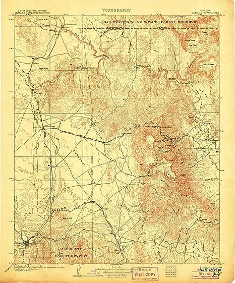 Map Of Arizona Including Jerome.Amazon Com Yellowmaps Jerome Az Topo Map 1 125000 Scale 30 X 30