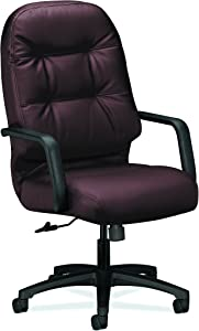 HON Leather Executive Chair - Pillow-Soft Series High-Back Office Chair, Burgundy (H2091)