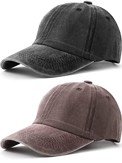 662feb52 2 Pieces Kid Children Boy Distresed-Washed Baseball Hat Baseball Cap  Adjustable Washed Solid Sun