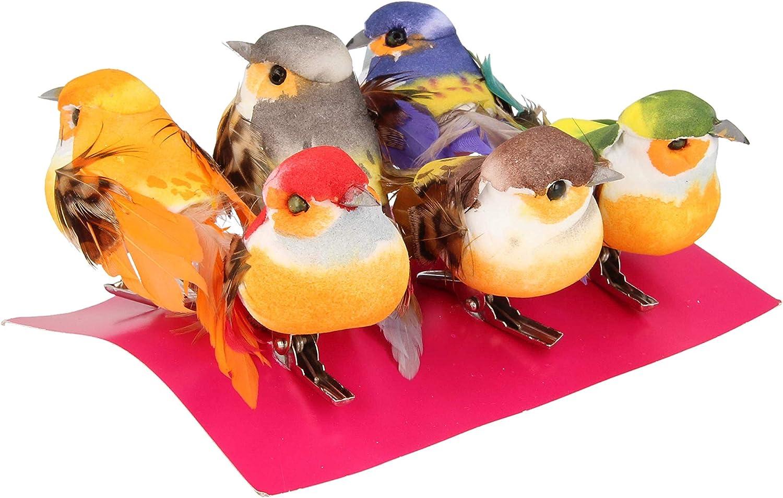 Artemio - Pájaro Decorativo sobre Pinza (6 Unidades), Multicolor