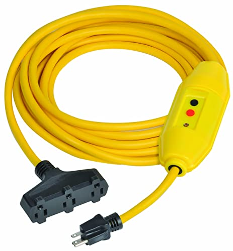 Tower Manufacturing 30338302-01 25 Length, 15 amp In-Line GFCI And Triple Tap Cord Set With Auto Reset