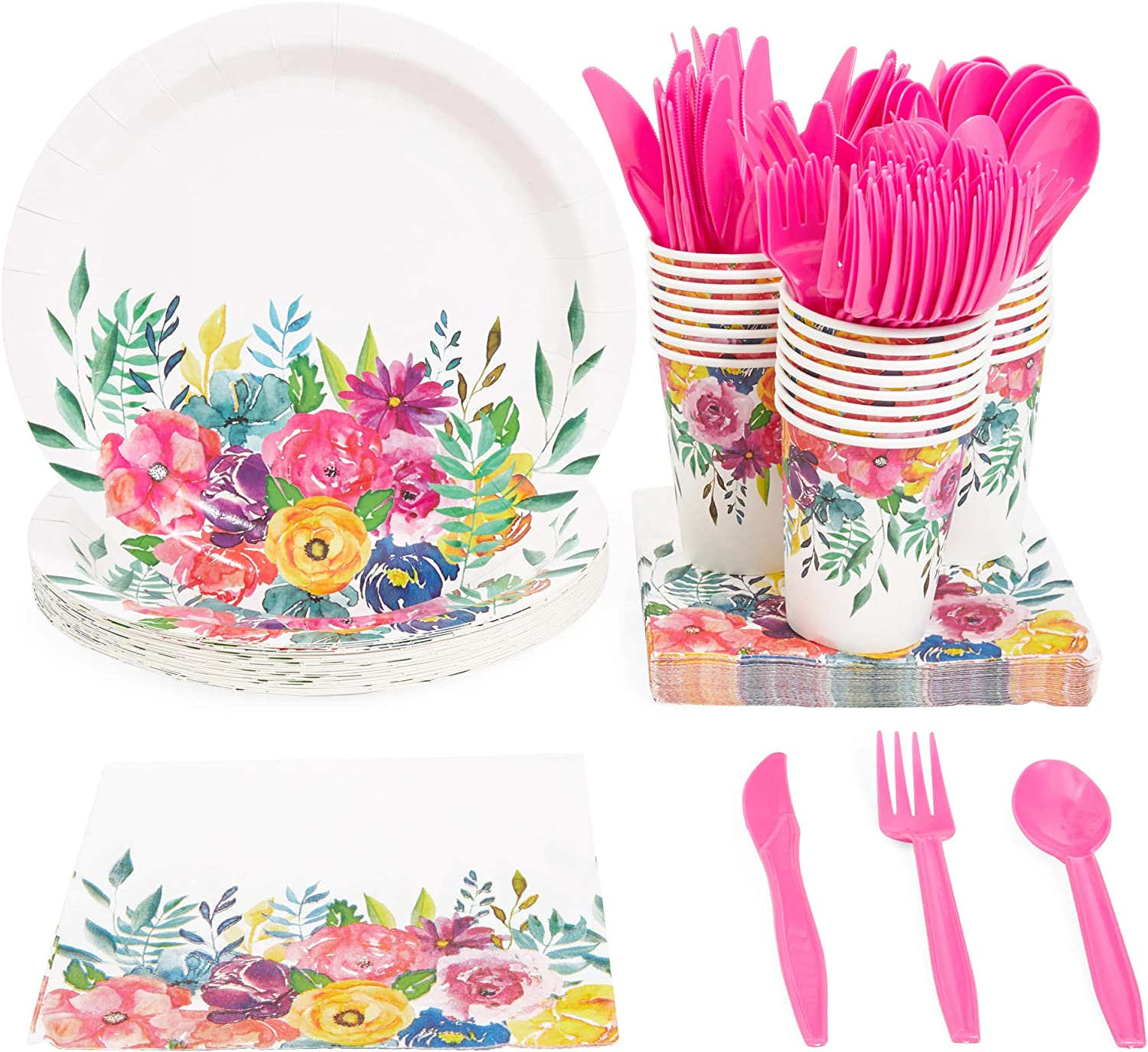 Colorful Floral Party Bundle, Includes Plates, Napkins, Cups, and Cutlery (24 Guests,144 Pieces)
