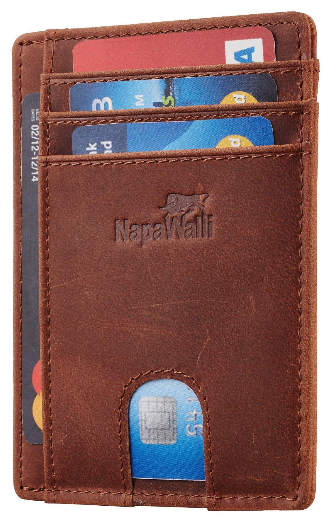 bbd4f9c6b96c8b Napawalli Rfid Blocking Minimalist Genuine Leather Slim Front Pocket Wallet