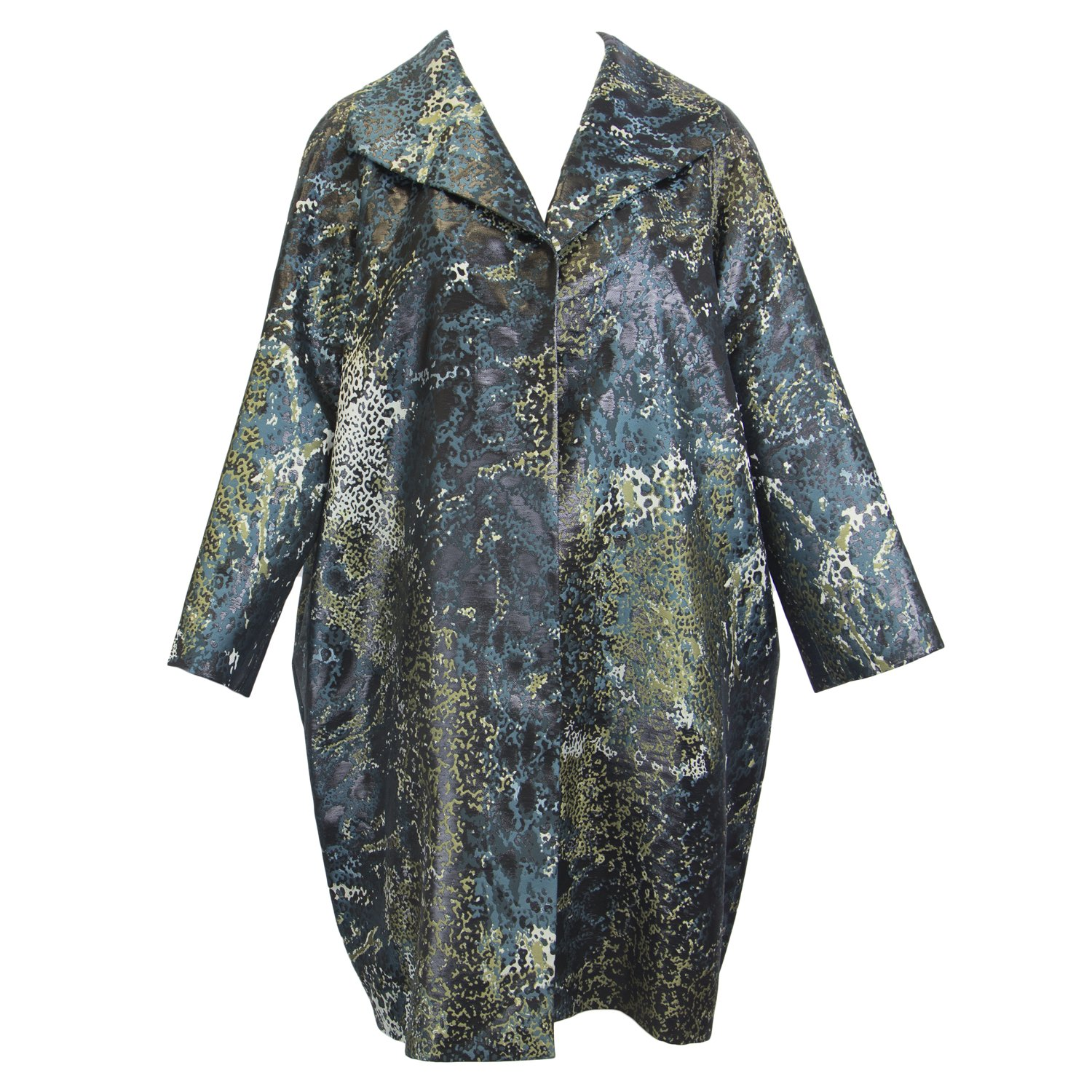 Marina Rinaldi Women's Tigrotto Metallic Printed Coat, Multicolor, 18W / 27