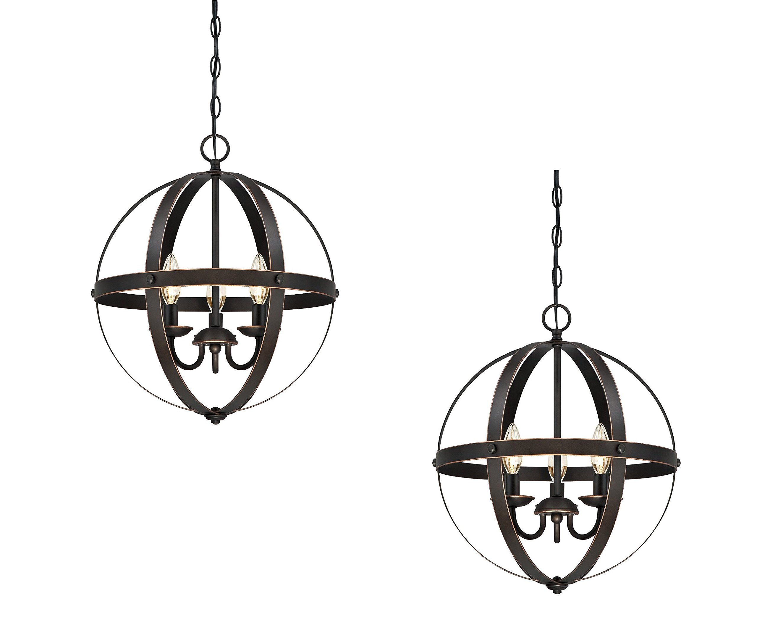 6341800 Stella Mira Three-Light Pendant, Oil Rubbed Bronze Finish with Highlights (Oil Rubbed bronze, 2-Pack) by W