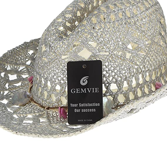 c1a85ec1a5125 Gemvie Women Hollow Out Western Style Straw Cowboy Cowgirl Hat Fedora Cap  at Amazon Women s Clothing store