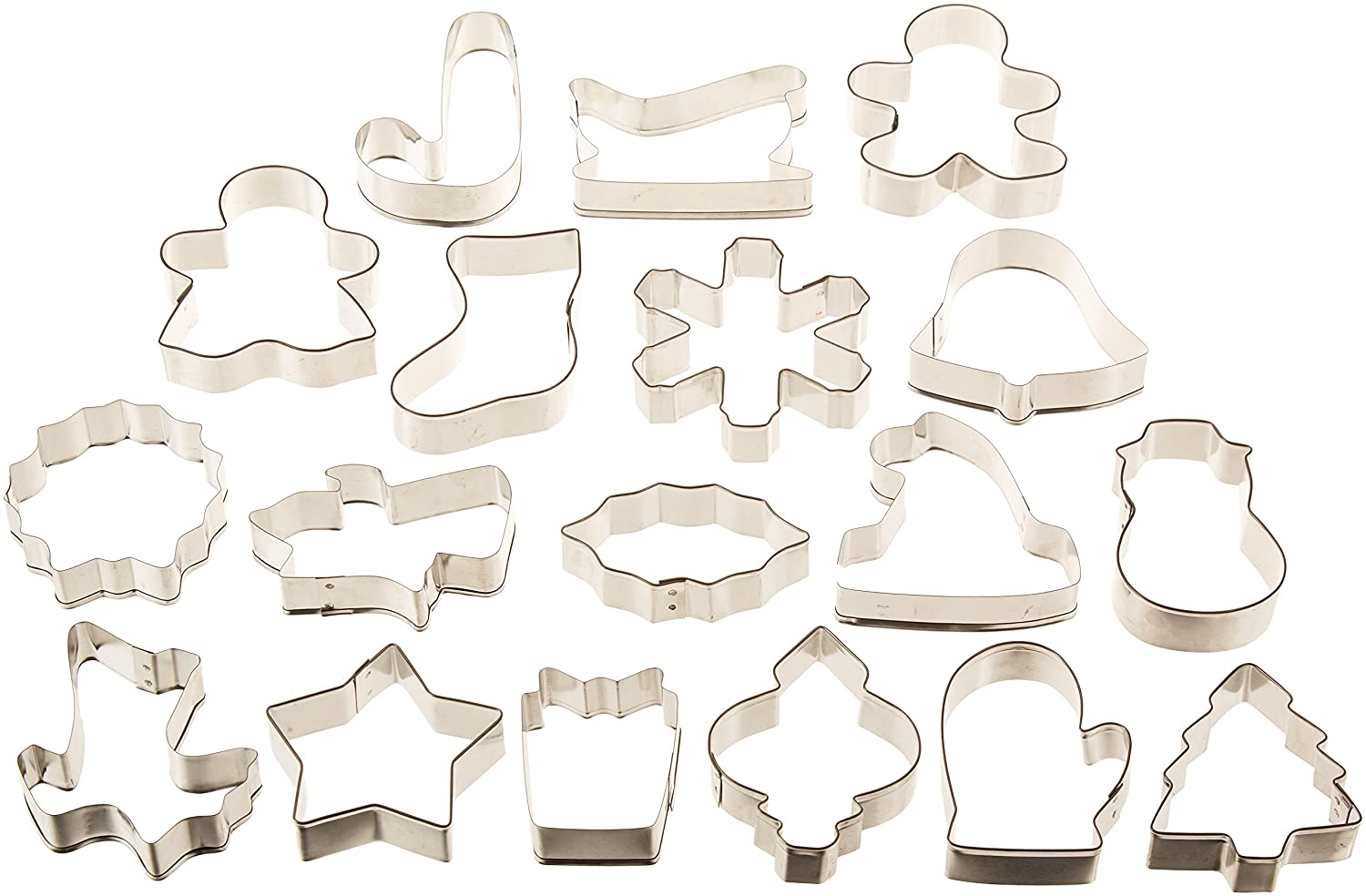 40d1998c6ef32 Amazon.com  Wilton Holiday 18 pc Metal Cookie Cutter Set