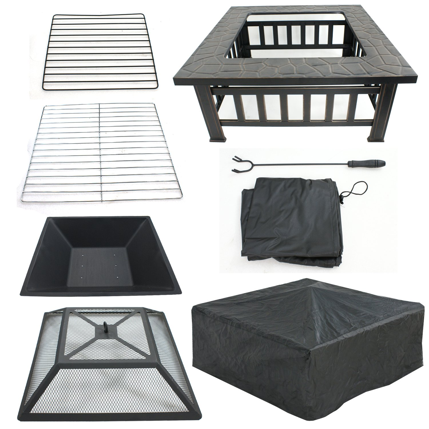 LEMY 32'' Outdoor Fire Pit Square Metal Firepit Backyard Patio Garden Stove Wood Burning BBQ Fire Pit W/Rain Cover, Faux-Stone Finish by LEMY