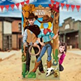 Western Party Decorations, West Cowboy Photo Booth Props, Large Fabric West Cowboy Photo Door Banner Background, Funny Wester