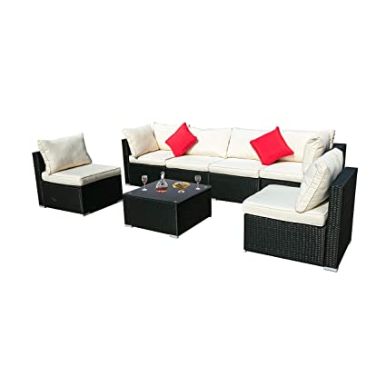 Amazon.com: DOIT Outdoor Rattan Patio Garden Sofa,Wicker ...