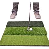 "GoSports Tri-Turf XL Golf Practice Hitting Mat - Huge 24"" x 24"" Turf Mat for Indoor Outdoor Training"