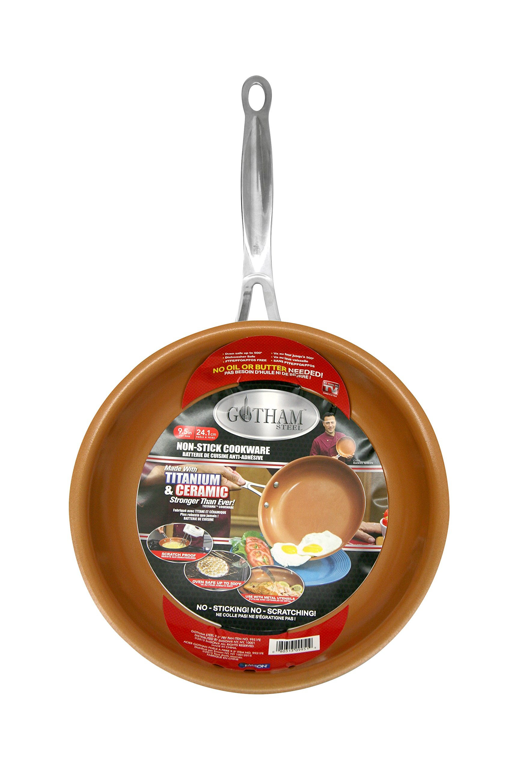 Gotham Steel 9.5'' Fry Pan with Ultra Nonstick Titanium and Ceramic Copper Coating by Chef Daniel Green, Dishwasher, Metal Utensil and Oven Safe by GOTHAM STEEL