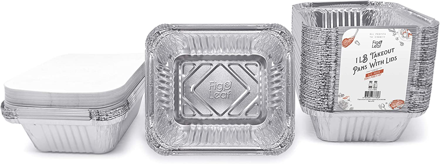 "Fig & Leaf (60 Pack) Premium 1-LB Takeout Pans with LIDS - 5.6"" x 4.6"" x 1.9"" l Extra Heavy-Duty l Disposable Aluminum Foil for Catering Party Meal Prep Freezer Drip Pans BBQ Potluck"