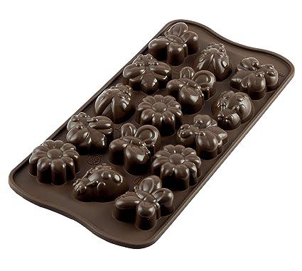 Silikomart 22 124 77 0065 Scg24 Moule Pour Chocolat Theme Printemps 15 Cavites Silicone Marron