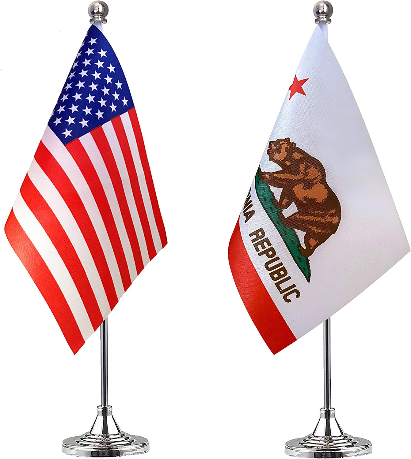 WEITBF California State Desk Flag Small Mini California CA Office Table Flag with Stand Base,2 Pack: Garden & Outdoor