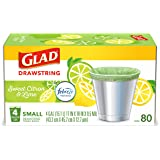 Glad Odorshield Small Drawstring Trash Bags, Sweet Citron & Lime, 80 Count