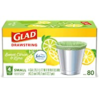Glad Small Kitchen Drawstring Trash Bags – 4 Gallon Green Trash Bag Febreze , Sweet Citron & Lime, 80 Count (Package May…