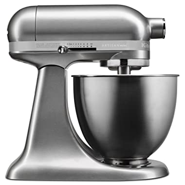 KitchenAid KSM3311XCU Artisan Mini Series Tilt-Head Stand Mixer, 3.5 quart, Contour Silver