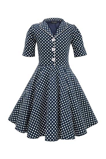 BlackButterfly Niñas Sabrina Vestido de Lunares Vintage Años 50 ...