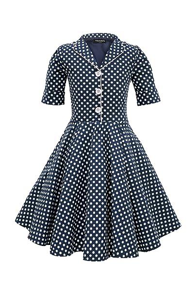 BlackButterfly Niñas Sabrina Vestido de Lunares Vintage Años 50 (Azul Oscuro, 11