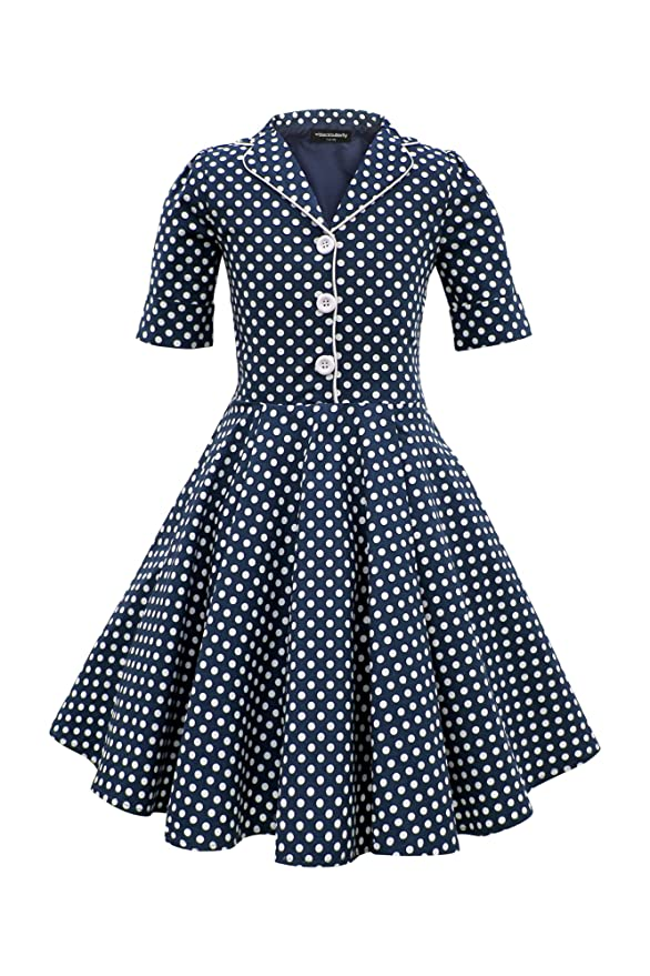 Vintage Style Children's Clothing: Girls, Boys, Baby, Toddler BlackButterfly Kids Sabrina Vintage Polka Dot 50s Girls Dress $39.99 AT vintagedancer.com