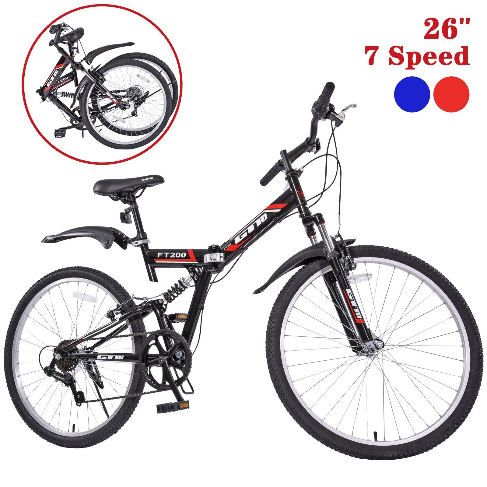 GTM 26'' 7 Speed Folding Mountain Bike Bicycle Shimano Hybrid Suspension MTB