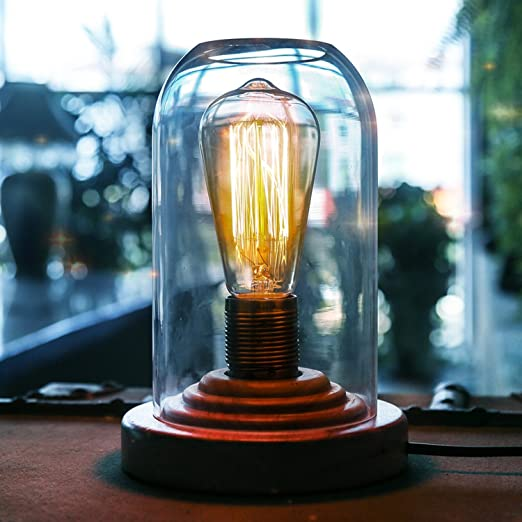 Generic Vintage Edison Desk Lamps Wood Base And Clear Glass Dome Table Lamp